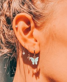 Pretty Ear Piercings, Ear Peircings, Tragus Piercings, Multiple Ear Piercings, Cartilage Earrings, Ear Plugs, Ear Jewelry, Cute Jewelry, Jewelery