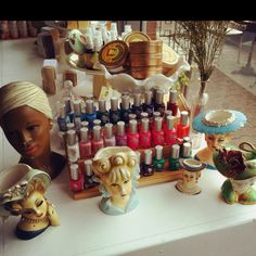 My vintage porcelain heads with my favorite Eco-Polish