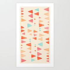Back & Forth - triangle abstract pattern in peach, aqua & cream Art Print by Micklyn   Society6