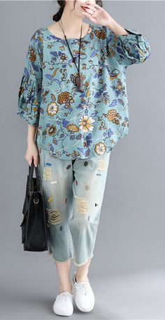 Italian blue print linen crane tops Omychic Shape o neck daily tops - Daily Fashion Look Fashion, Daily Fashion, Fashion Outfits, Dress Fashion, Cute Outfits With Jeans, Casual Outfits, Jean Outfits, Evening Dresses With Sleeves, Designs For Dresses