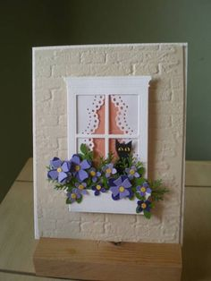 Kitty in window card