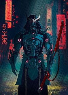 077 Samurai 2077 Art Print by Yexart - X-Small Cyberpunk Kunst, Sci Fi Kunst, Samurai Tattoo, Fantasy Kunst, Dark Fantasy Art, Fantasy Character Design, Character Art, Ninja Kunst, Ronin Samurai