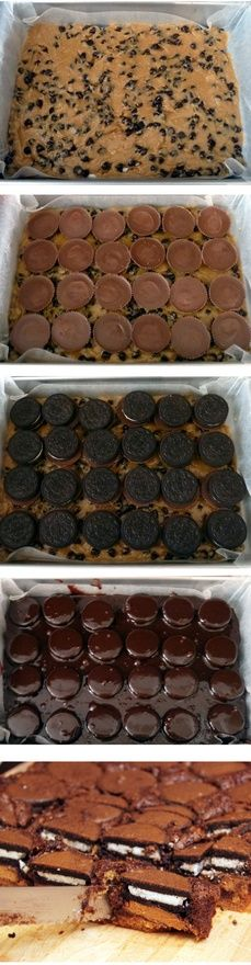 Omg this just took slutty brownies to a whole new level!-Chocolate chip cookie dough Peanut butter cup Oreo brownies… Could you please combine the treats I love the most into one amazing festival of tasty? Bur probably so bad for … Continue reading → Yummy Treats, Sweet Treats, Yummy Food, Think Food, Love Food, Just Desserts, Dessert Recipes, Cookie Recipes, Oreo Brownies