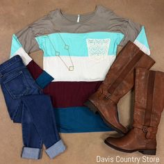 Davis Country Store color block lace top
