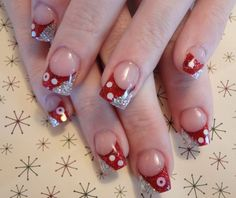 Red and Silver Holiday Nail Art - NAILS Magazine - www.nailsmag.com