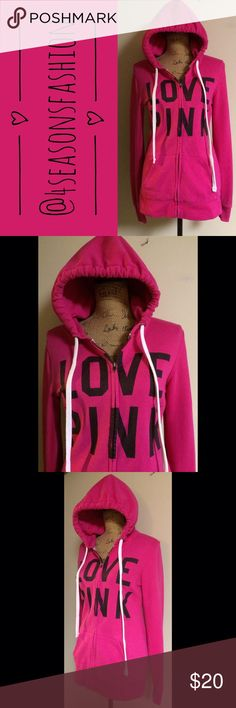 🌸SPRING SALE🌸 SUPER CUTE FULL ZIP HOODED SWEATSHIRT FROM VICTORIA'S SECRET SZ XS. RUNS A TINY BIT ON THE BIGGER SIDE. EXCELLENT CONDITION. PINK Victoria's Secret Tops Sweatshirts & Hoodies