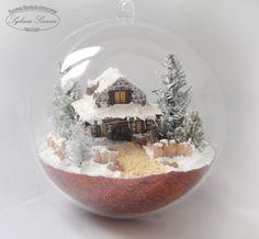 chatki1 Christmas Scenes, Christmas Toys, Diy Christmas Ornaments, Winter Christmas, Christmas Decorations, Best Friend Crafts, Snowflake Stencil, Glitter Houses, Craft Club