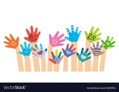 Painted Hands Of Little Children - Buy this stock vector and explore similar vectors at Adobe Stock Logo D'art, Art Logo, Page Boarders, Certificate Background, Children Sketch, Sally Nightmare Before Christmas, Little Children, Happy Party, Kids Logo