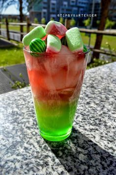 Watermelon Island Cocktail - For more delicious recipes and drinks, visit us here: www.tipsybartender.com