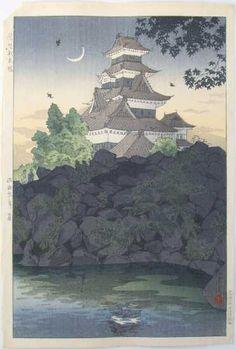 Art, Ukiyoe, Woodblock Print, Japan, Castle