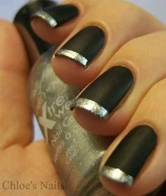 Captivating Designs for French Tip Nails ★ See more: naildesignsjourna. - Captivating Designs for French Tip Nails ★ See more: naildesignsjourna… - French Nails, Silver French Manicure, Silver Nails, Black Nails, Matte Nails, Matte Black, Black Silver, Acrylic Nails, Sexy Nails