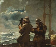 'Eight Bells', one of Homer's best-known paintings and the last of the series of great sea pictures that had commenced with 'The Life Line' three years earlier, was completed in 1886 but not shown until 1888. The title refers to the sounding of eight bells done at the hours of four, eight, and twelve a.m. and p.m. Two sailors dominate the foreground, but the details of the ship and its riggings have been minimized.