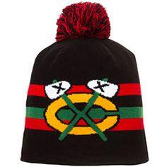 Chicago Blackhawks Tomahawk Boost Pom Knit Hat #Chicago #Blackhawks #ChicagoBlackhawks