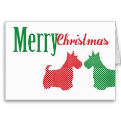 Double Scottish Terrier Christmas Card