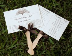 DIY Wedding Program Fans with Ribbon - Perfect for your Tree Themed Ourdoor Wedding $2.75