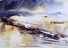 Towards Worm Head The Gower watercolour by Adrian Homersham