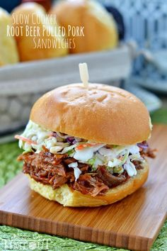 Slow Cooker Root Beer Pulled Pork Sandwiches - simple and delicious! | MomOnTimeout.com