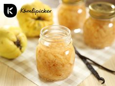 quince compote with vanilla Izu, Cobbler, Pickles, Cantaloupe, Cucumber, Vegan Recipes, Canning, Fruit, Desserts
