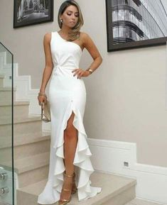 White One Shoulder Prom Dress, Split Pleat Satin Mermaid Prom Dresses, Wedding Party Dresses, Evening Party Gowns, 380 Sewing Dresses For Women, White Dresses For Women, White Maxi Dresses, Sexy Dresses, Fashion Dresses, Dress Sewing, Kohls Dresses, White Gowns, Summer Dresses