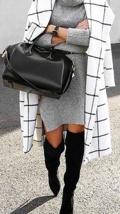 Grid print coat + sweater dress.