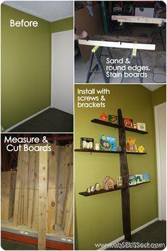Seuss projects, party ideas, children's books, DIY crafts and activities Dyi Bookshelves, Tree Bookshelf, Owl Themed Nursery, Owl Nursery, Apt Ideas, Room Ideas, Decor Ideas, Owl Tree, House Improvements