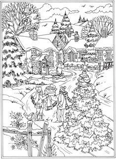 💘💘cWelcome to Dover Publications From: Creative Haven Winter Wonderland Coloring Book ! Coloring Pages To Print, Coloring Book Pages, Printable Coloring Pages, Coloring Pages For Kids, Christmas Coloring Sheets, Dover Publications, Theme Noel, Christmas Colors, Winter Christmas