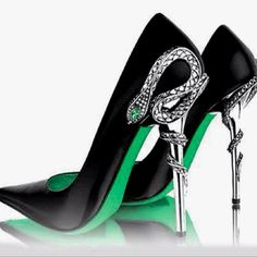 snake stilettos -  Swarovski crystal-embellished snake wraps around the metal heels of these Gianmarco Lorenzi Swarovski Snake Heel Pumps