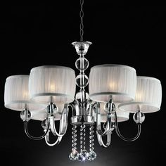 Shabby-Chic-Chandelier-Lighting-6-Lights-Living-Room-Decor-Shade-White-Crystals