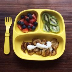 Breakfast: strawberries, blueberries, kiwi and pan fried bananas topped with French vanilla whole milk yogurt.  Pan Fried Bananas 1 banana, sliced 1 tsp brown sugar 1/4 tsp cinnamon Pinch of nutmeg Spray a skillet with cooking spray and place on stovetop over medium heat. Add bananas. In a bowl mix together sugar, nutmeg and cinnamon. Cook bananas 2-3 minutes. Sprinkle bananas with mixture, tossing while adding. Drizzle with yogurt (optional).