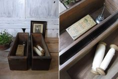 アンティーク 古いミシンの引出し2つ 収納、小物入れ インテリア 雑貨 家具 Antique sewing machine ¥1000yen 〆05月08日