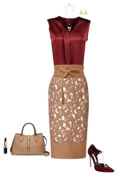 """Burgundy and nude"" by julietajj on Polyvore"
