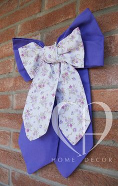 double cotton bow with light purple and violet flowers