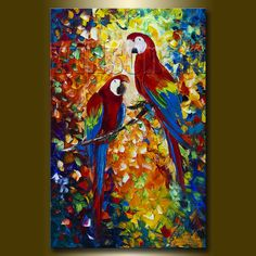 Parrot Modern Animal Oil Painting Textured Palette by willsonart