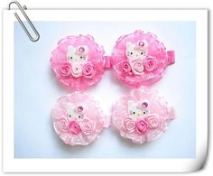Girls Hair Clip Set Hello KItty Cupcake Hairclip Sets Kids Glitter Hair Clips