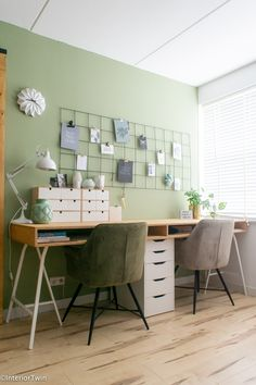 IKEA hack: bureau op schragen | InteriorTwin Home Office, Desk Hacks, Ikea Hacks, Ikea Desk, My New Room, My Dream Home, Room Inspiration, Storage Spaces, New Homes