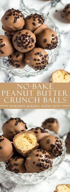 No-Bake Peanut Butter Crunch Balls   http://marshasbakingaddiction.com /marshasbakeblog/