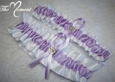 Lavender and White Garter Set, Keepsake and Toss-away Garter Set, Ribbon Garter, Prom Garter, Purple Garter, Bridal Garter, Wedding Garter