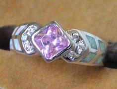fire opal Cz ring Gemstone silver jewelry Sz 7 modern topaz engagement style E2E