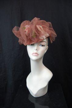 Early 40s Rose Tilt hat - Topper hat floral taupe rose mauve.