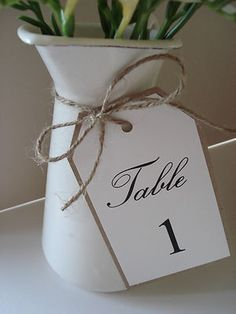 1 Vintage/Shabby Chic Style wedding table number tag | eBay... but with names, not numbers