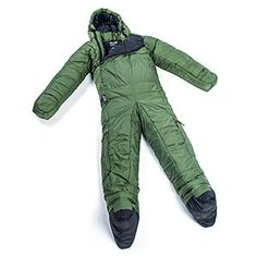 This version of the wearable sleeping bag is the Original 5G Evergreen Onesie Sleeping Bag. It features removable booties and a kangaroo pocket. We carry it in four sizes.