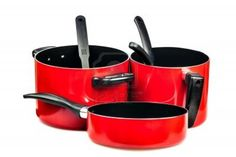 Picture of Set of metallic red cooking pots and pans isolated on white stock photo, images and stock photography. Pots, Metallic, Cooking, Red, Kitchen, Planters, Cuisine