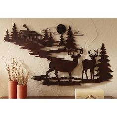 Northwoods Cabin & Deer Metal Wall Art