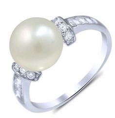 NaturalFreshwater Pear and cubic zirconia Fashion Ring, Bridal pearl Ring w CZ accents, Sterling Silver Pearl CZ Engagement Ring, Bridesmaid by LolasCreations777 on Etsy https://www.etsy.com/listing/243917367/naturalfreshwater-pear-and-cubic