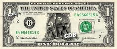 NIGHTMARE BEFORE CHRISTMAS on REAL Dollar Bill Cash Money Bank Note Disney