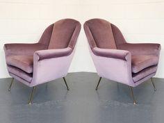 Pair of Pink Velvet Lounge Chairs by Gigi Radice Minotti Italy 1950s