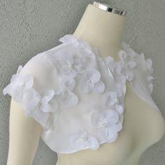 Wedding Bolero Shrug White Chiffon Embellished by Chuletindesigns, $75.00