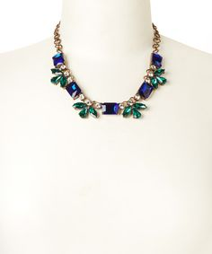 """The perfect Exotic Peacock wedding necklace to go with our """"Exotic Peacock Wedding Venue. """" Gold, Green & Blue Crystal Necklace by Sorta Southern Boutique #zulilyfinds  A gift for maid's of honor after the wedding, to match their dresses, great neckline for a multitude of wedding and reception dresses! Concierge destination wedding travel planning with PJ 888-696-4202  #allweddingsallowed #allcouplesallowed #allbridesallowed"""