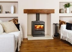 modern oak fireplace beam for stovax stove Fireplace Beam, Log Burner Fireplace, Inglenook Fireplace, Wood Burner, Fireplaces, Electric Fireplace, Cosy Lounge, Multi Fuel Stove, New Living Room
