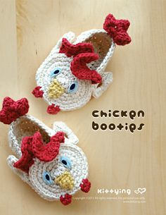 Ravelry: Baby Booties Chicken Rooster Cockerel Cock Crochet PATTERN by Kittying.com pattern by Kittying Ying